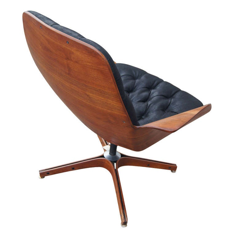 George Mulhauser For Plycraft Walnut Lounge Chair at 1stdibs