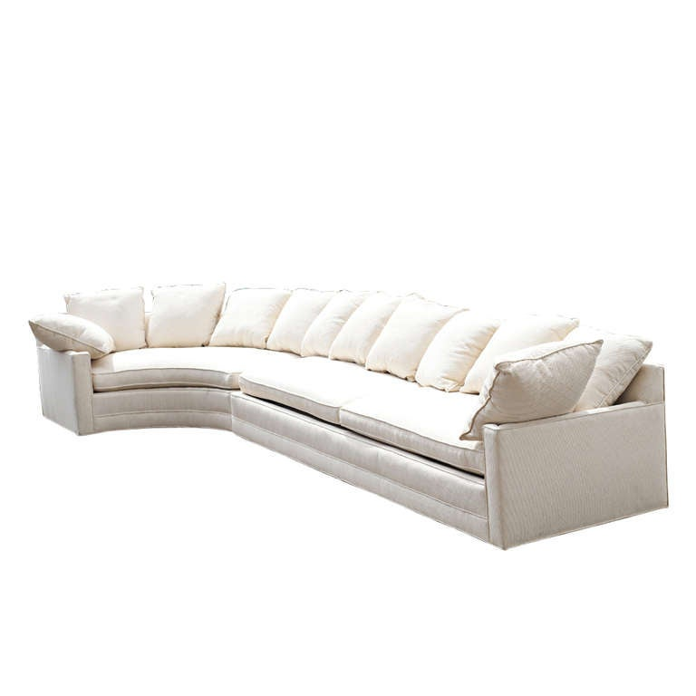 Large Two Piece White Sectional Sofa With Corner Table At