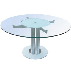 Contemporary Glass and Metal Circular Dining Table