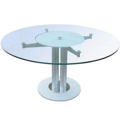 Contemporary Glass and Metal Circular Dining Table 75% off Original Price