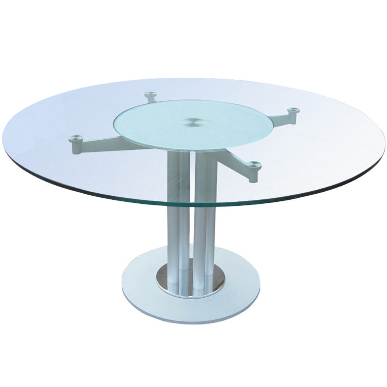 Contemporary Glass And Metal Circular Dining Table At 1stdibs