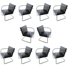 Ten Thonet Mies Style Brno Chairs With Embossed Leather