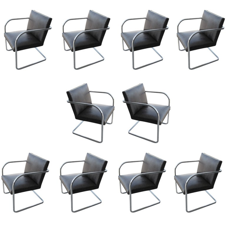 1 Thonet Mies van der Rohe Brno Chairs With Embossed Leather For Sale