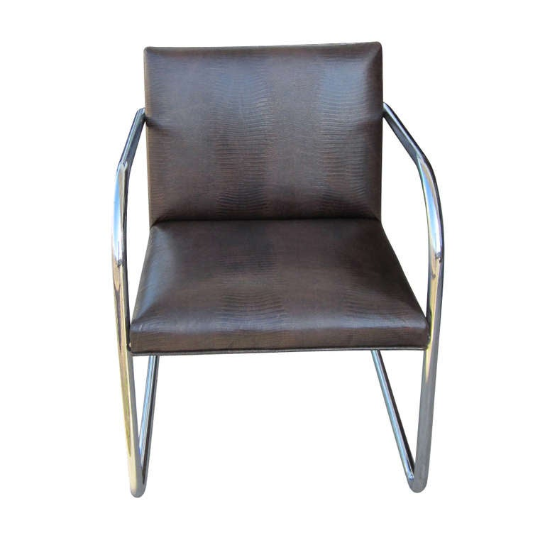 Mid-Century Modern 1 Thonet Mies van der Rohe Brno Chairs With Embossed Leather For Sale