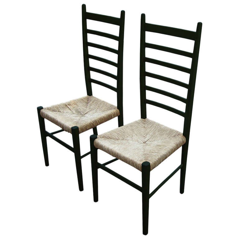 Pair Of Vintage Italian Ladderback Chairs With Woven Rush Seats For Sale