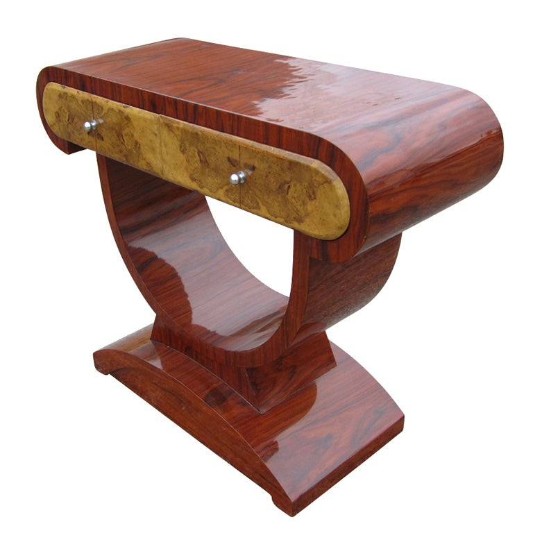 art deco style rosewood and burl console table 1 art deco style rosewood