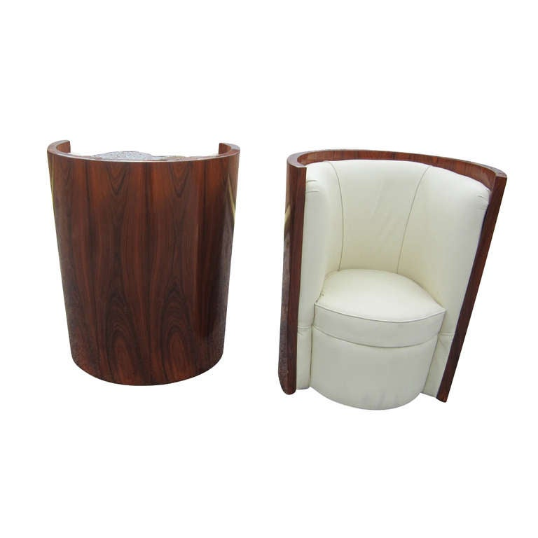 pair of art deco style rosewood barrel chairs 2