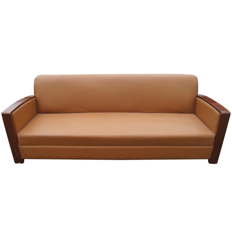 Contemporary art deco style rosewood and leather sofa at for Art deco style sofa