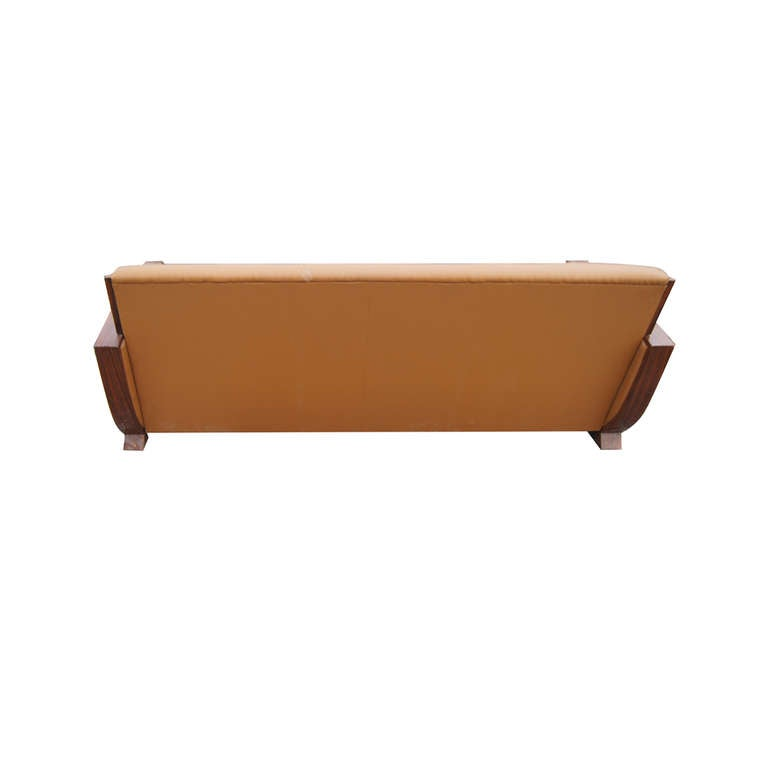 Contemporary Art Deco Style Rosewood And Leather Sofa At