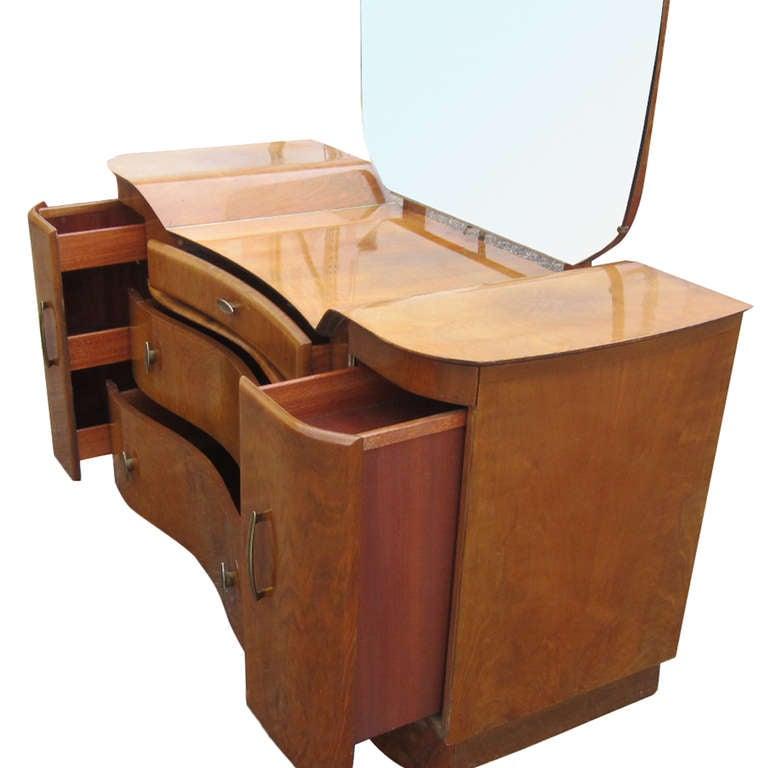 British Art Deco Mahogany Vanity Dresser With Mirror For Sale