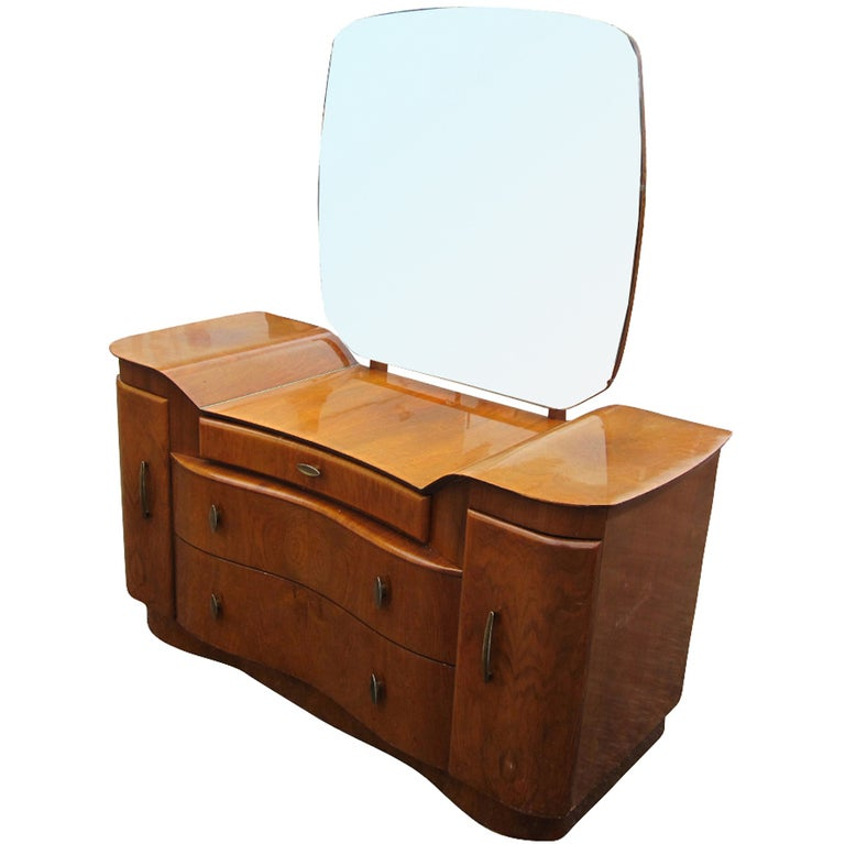 Art Deco Mahogany Vanity Dresser With Mirror For Sale