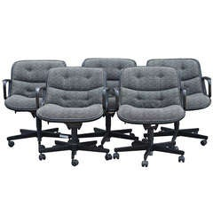 Five Charles Pollock For Knoll Executive Swivel Chairs