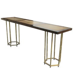 Vintage Brass Faux Bamboo Console