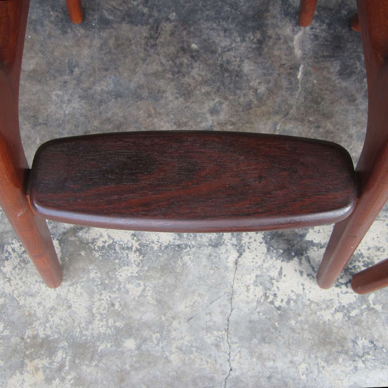 Erik Buch Black Leather Solid Teak And Rosewood Bar Stool