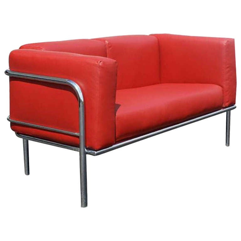 Vintage Red Leather LC2 style Loveseat in the manner of Le Corbusier