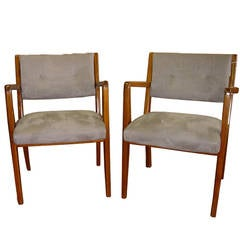 Two Restored Jens Risom Side Armchairs