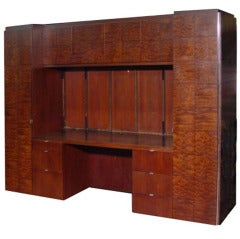 Large Burled Credenza And Wall Unit