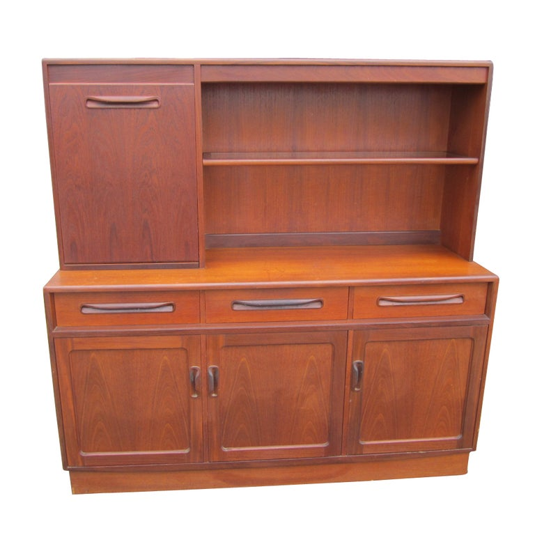 Scandinavian Style Teak Buffet Bar Cabinet For Sale