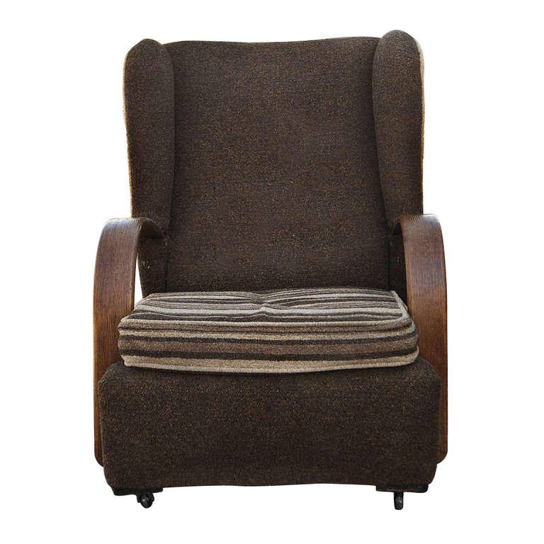 Pair of Art Deco Scrolled Arms Wing Chairs In Good Condition For Sale In Pasadena, TX
