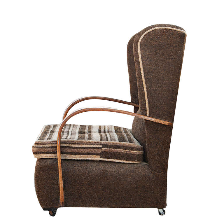 Mid-20th Century Pair of Art Deco Scrolled Arms Wing Chairs For Sale