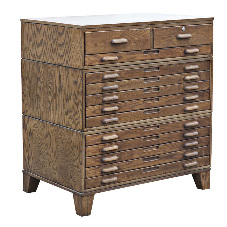 Thirteen Drawer Oak Flat File Cabinet On Legs At 1stdibs