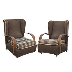 Pair of Art Deco Scrolled Arms Wing Chairs