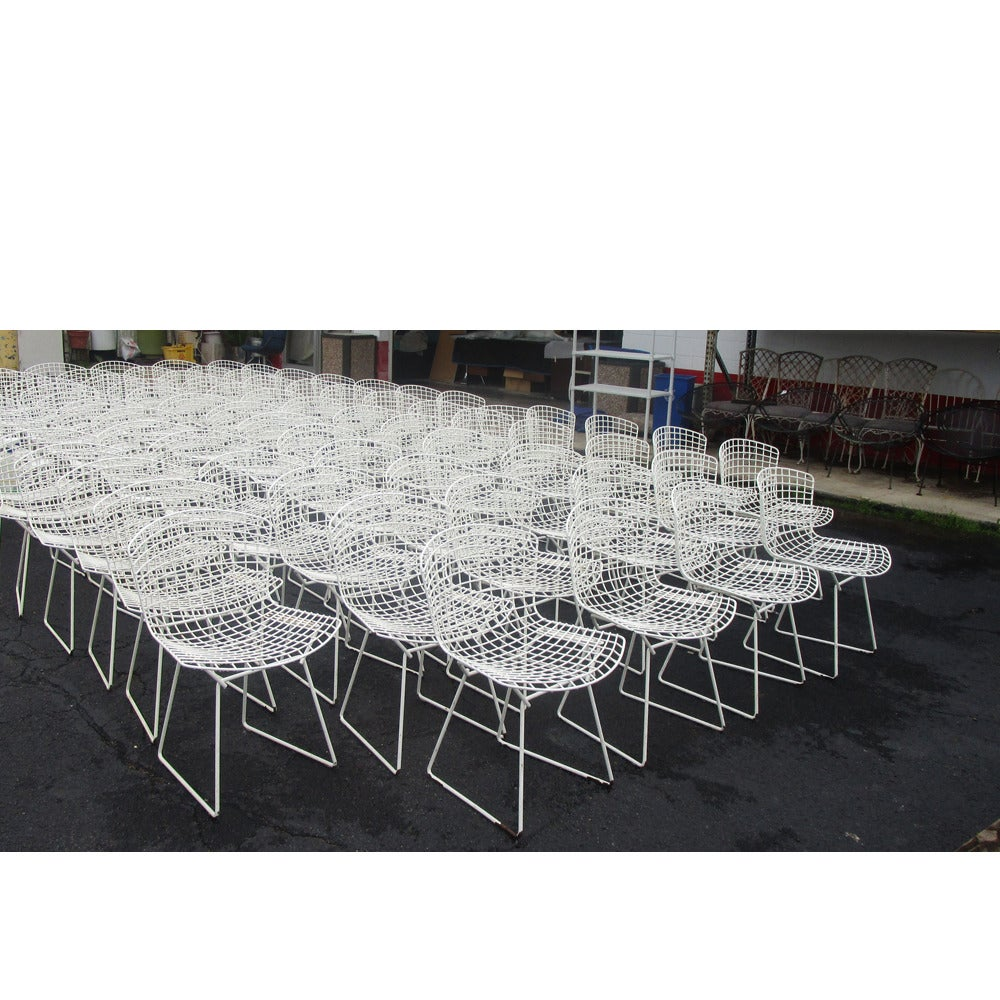 Bertoia diamond chair vintage - Vintage Original White Knoll Bertoia Mesh Side Chair 2