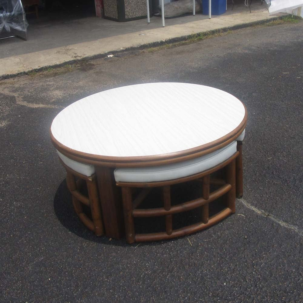 Mid Century Bamboo Adjustable Cocktail Able With Seating At 1stdibs
