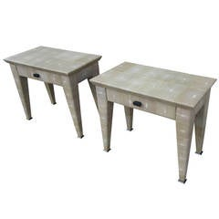 Pair of Theo End Tables Upholsterstered in Shagreen Designed by Romeo Sozzi