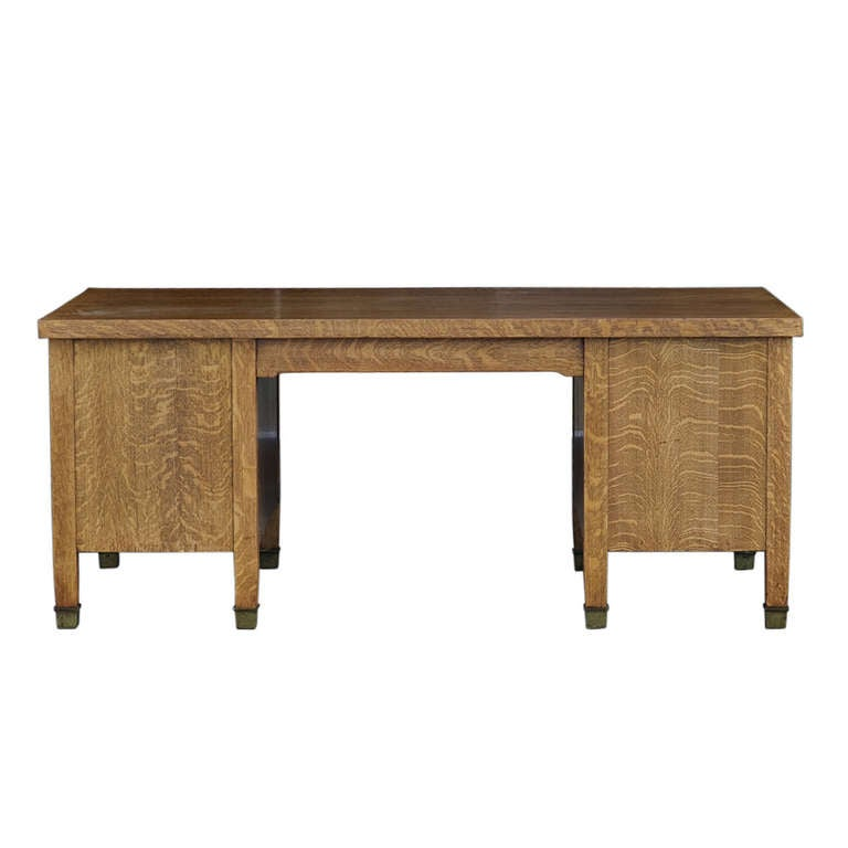 Mission Style Quarter Sawn Oak Executive Desk By Gorham