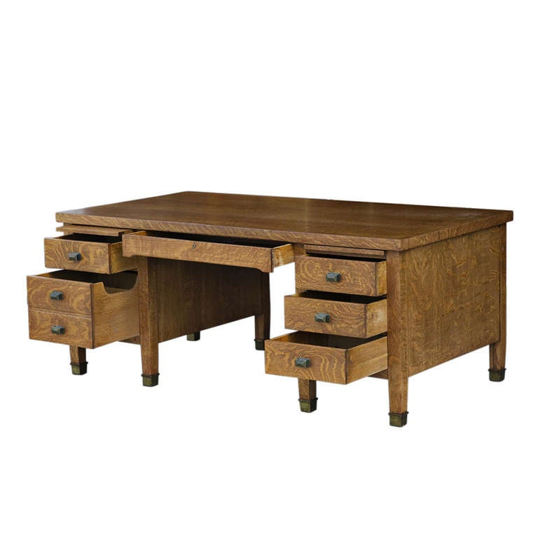 Mission Style Quarter Sawn Oak Executive Desk By Gorham At