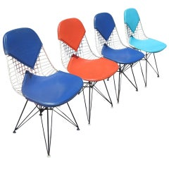Set of Four Eames DKR Chairs for Herman Miller with Original Girard Upholstery