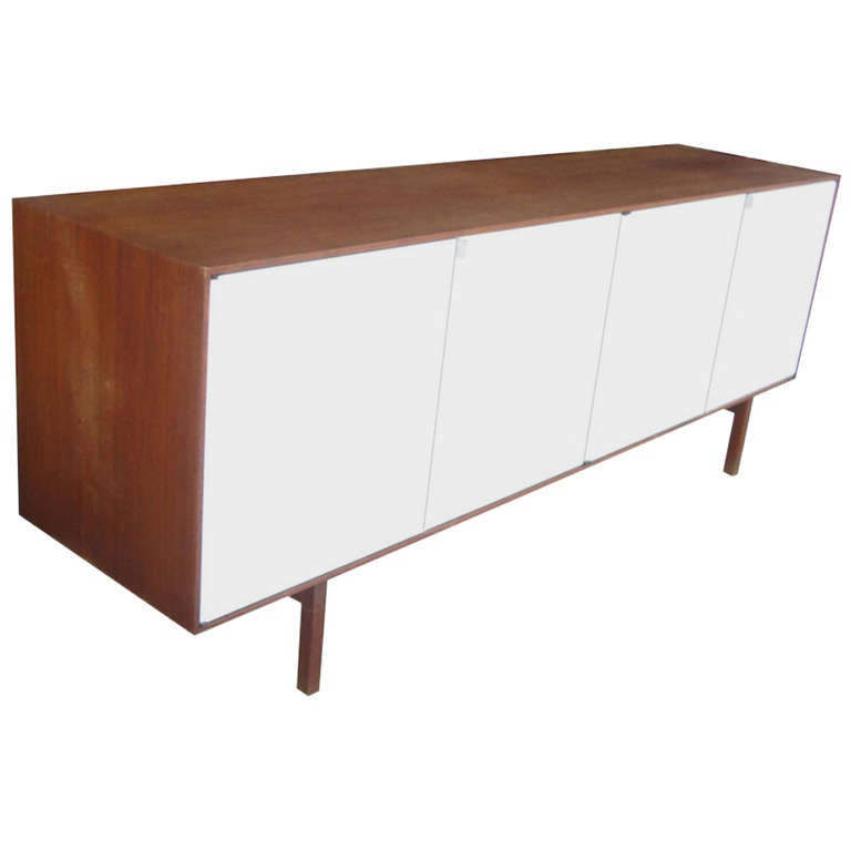 Florance Knoll Walnut Credenza With White Lacquer Doors At