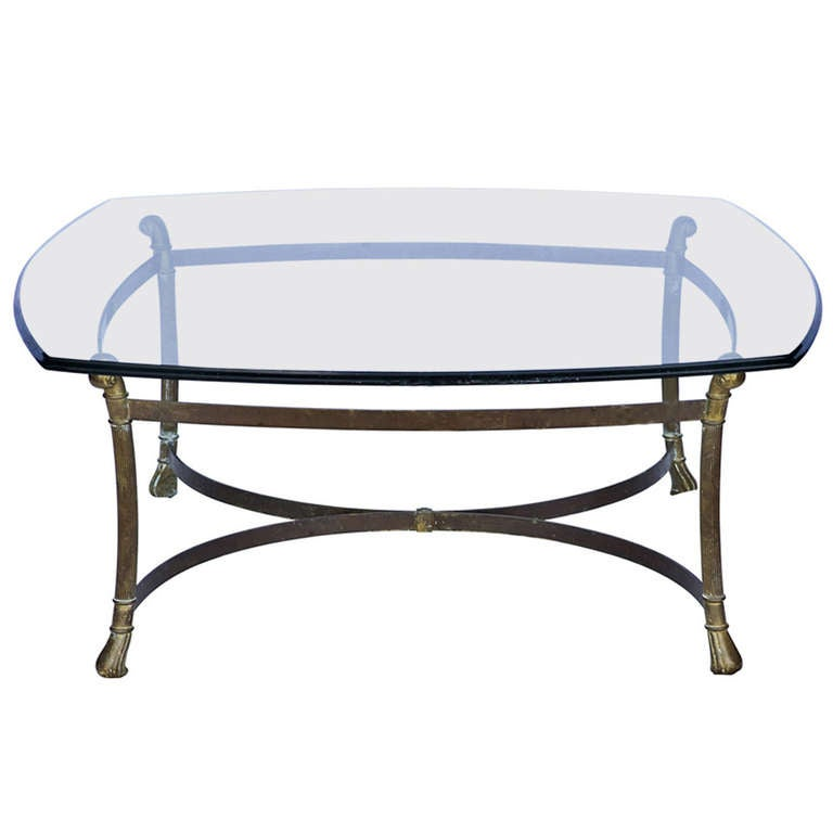 Mid-Century Brass And Glass Coffee Table For Sale At 1stdibs