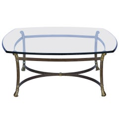 Mid-Century Brass and Glass Coffee Table
