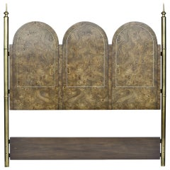 Mastercraft Elegant Burled Amboyna and Brass Headboard