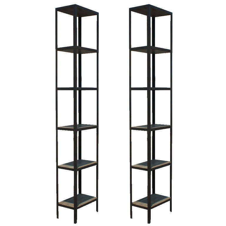 pair of tall metal and wood shelving units at 1stdibs. Black Bedroom Furniture Sets. Home Design Ideas