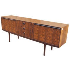 Mid Century Modern Burled Rosewood Credenza