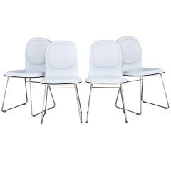 Four Cappellini Hi Pad Italian Leather Dining Chairs by Jasper Morrison
