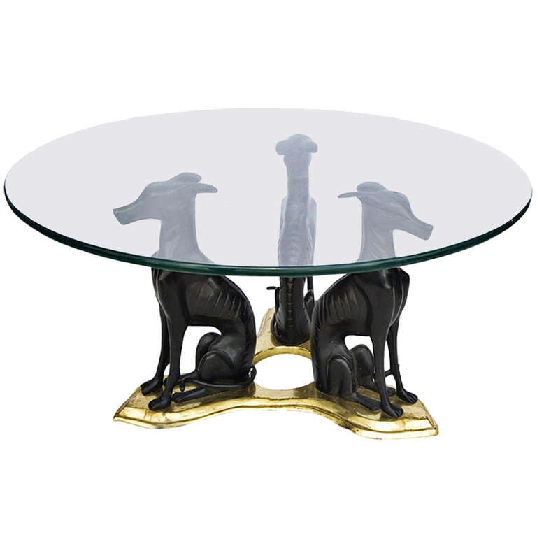 Maitland Smith Bronze Whippets Cocktail Table For Sale