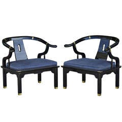 Pair Of James Mont Style Chinoiserie Chairs