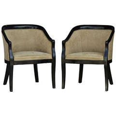 Pair Of Hollywood Regency Black Lacquer Lounge Arm Chairs