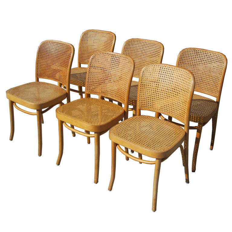 Josef Hoffman For Thonet Set Of Six Bentwood And Cane Chairs