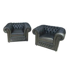 Pair of Vintage Chesterfield Lounge Chairs