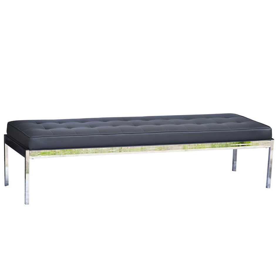 Tufted Vinyl Steelcase Chrome Bench At 1stdibs