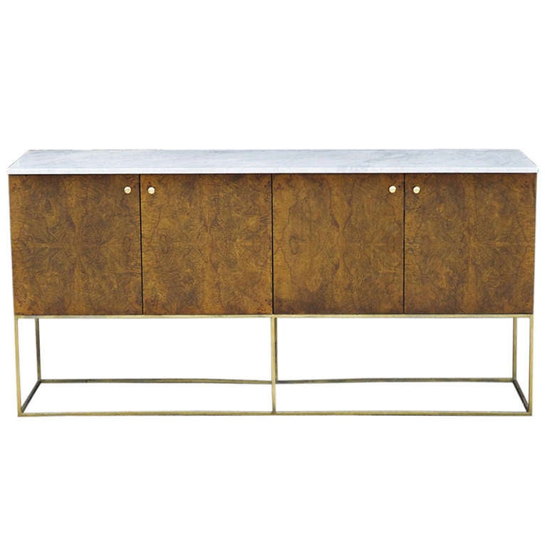 Milo Baughman for Thayer Coggin Burl Wood Marble Top Sideboard