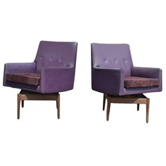 Pair of Vintage Jens Risom Walnut Swivel Lounge Armchairs Suede Seat