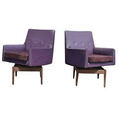 Pair of Vintage Jens Risom Walnut Swivel Lounge Armchairs Suede Seat