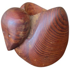 Vintage Carved Duck Teak Sculpture by Deborah Bump