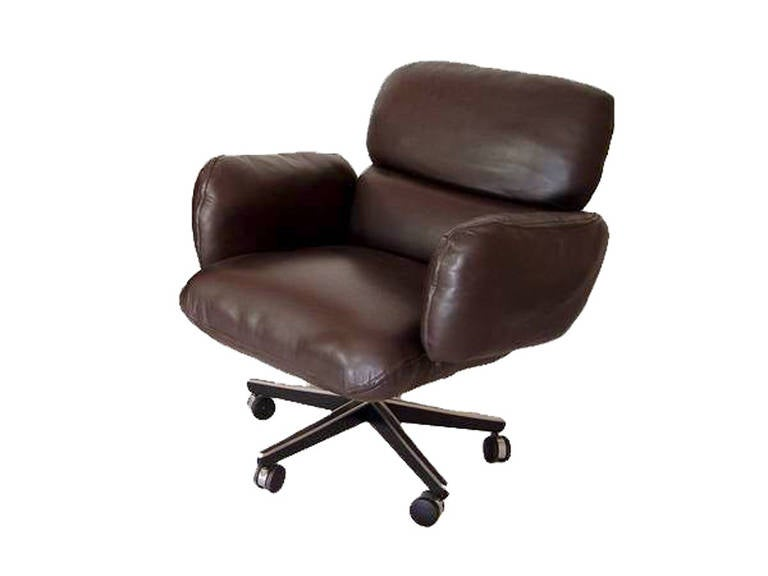 mid-century modern knoll zapf chair in brown leather for sale at